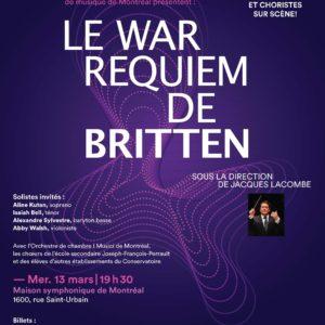 Le War Requiem au Conservatoire de musique de Montréal, Les écrivains de l'âme par Arion, orchestre baroque et une mise en scène d'Oriol Thomas à l'Opéra islandais