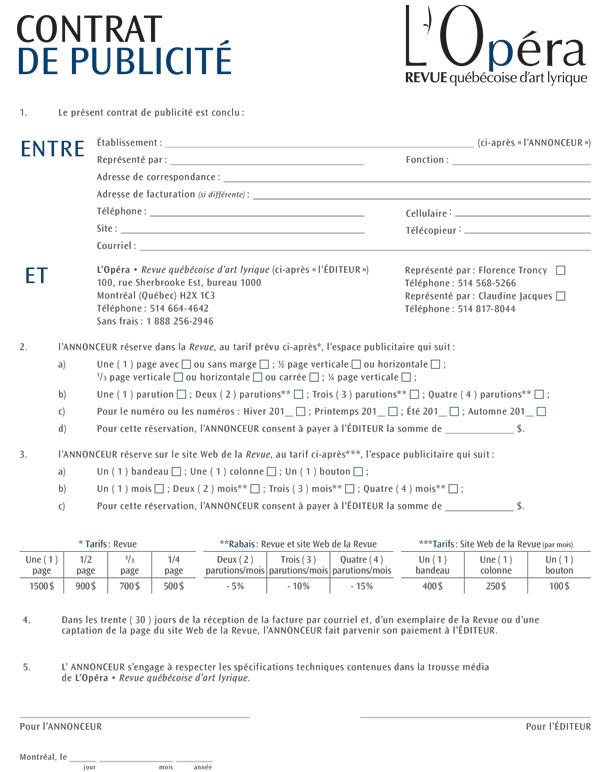 Contrat de publicité PDF à imprimer
